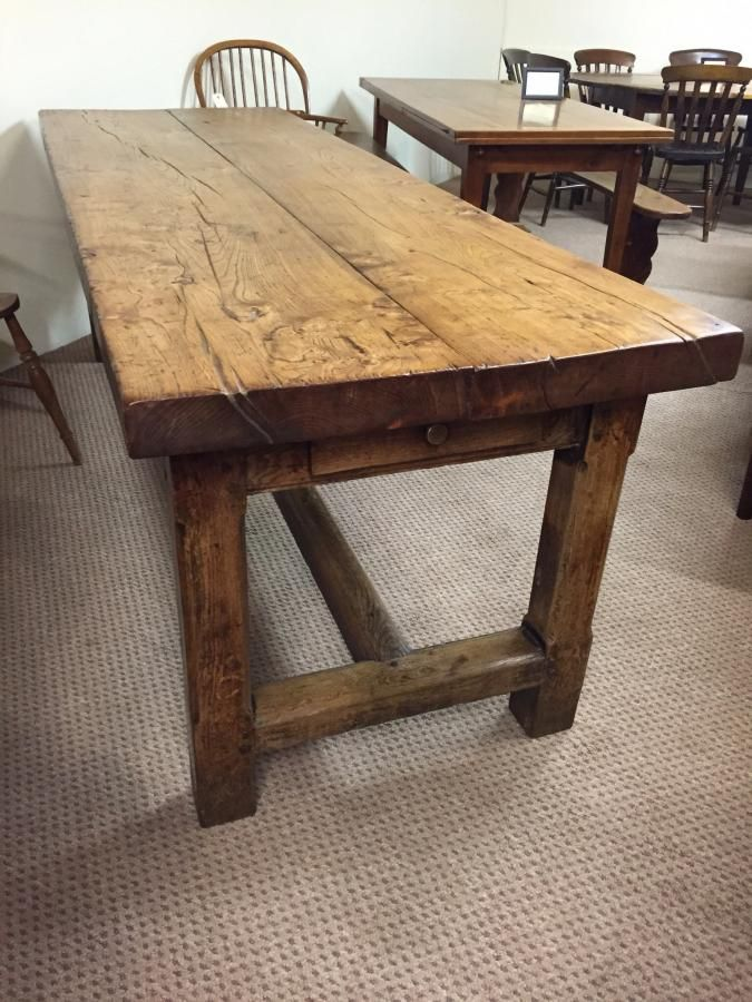 This Table Has A Two Plank Elm Top With Heavy Refectory Style Frame Gorgeous Colour And Lot Of Character
