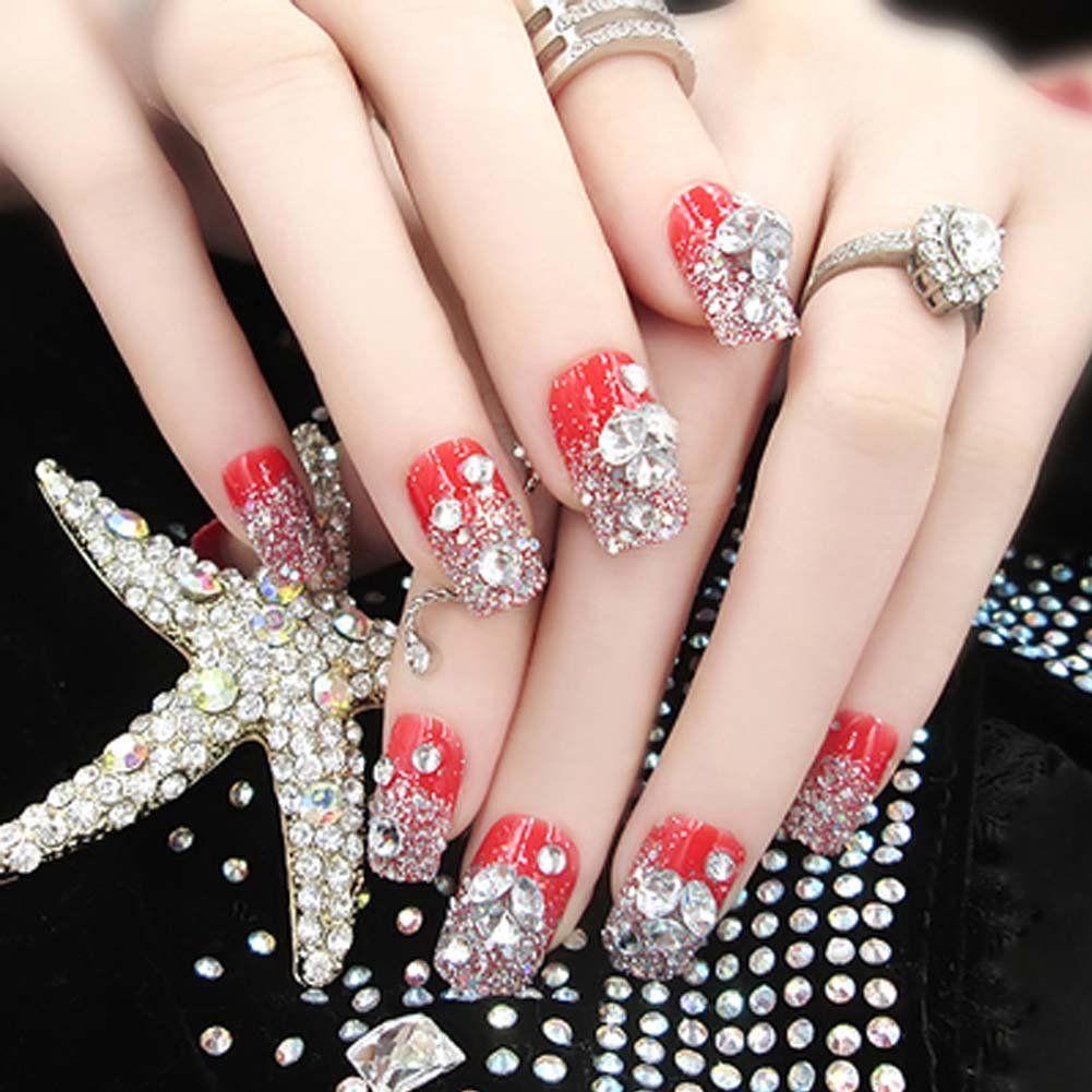 Charming Wedding Bridal French Nails Fake Nail Rhinestones Nail Art Design   NailDesignIdeas 791b8ff75186