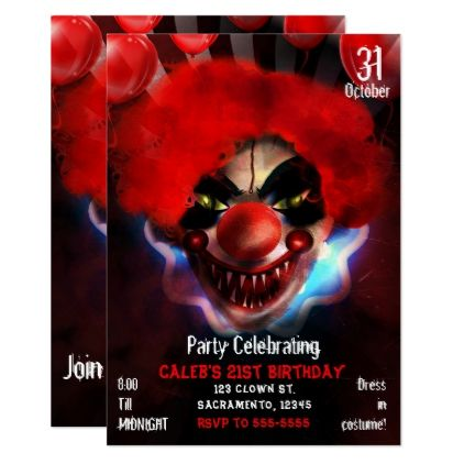 Creepy Scary Killer Clown Halloween Birthday Party Card birthday – Scary or Horror Invitation Cards