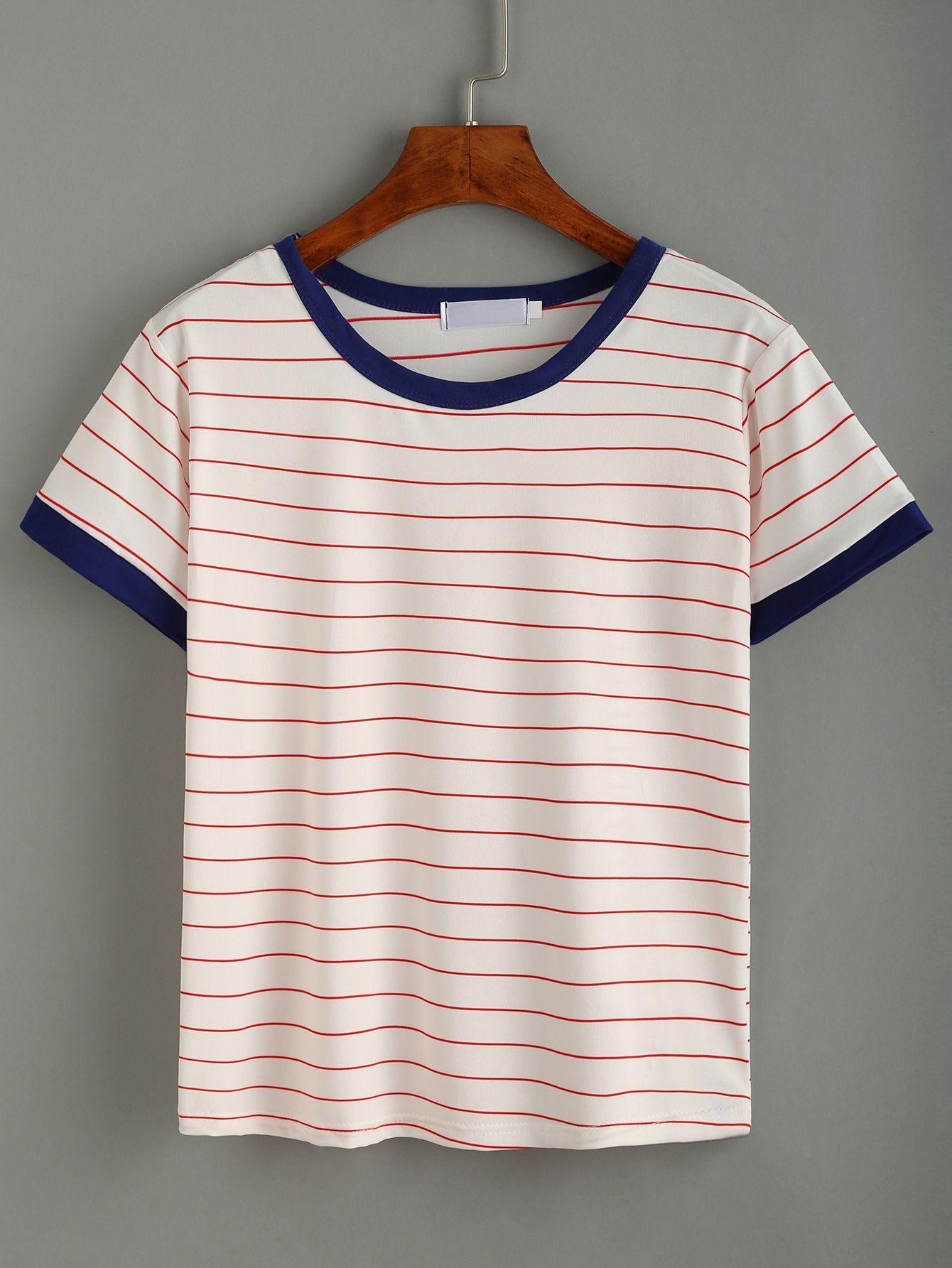 61e0da609 T-shirt à rayures col rond manche courte-French SheIn(Sheinside ...
