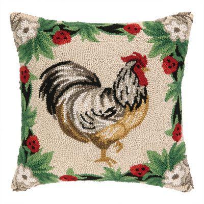 Peking Handicraft Rooster Strawberry II Hook Wool Throw Pillow