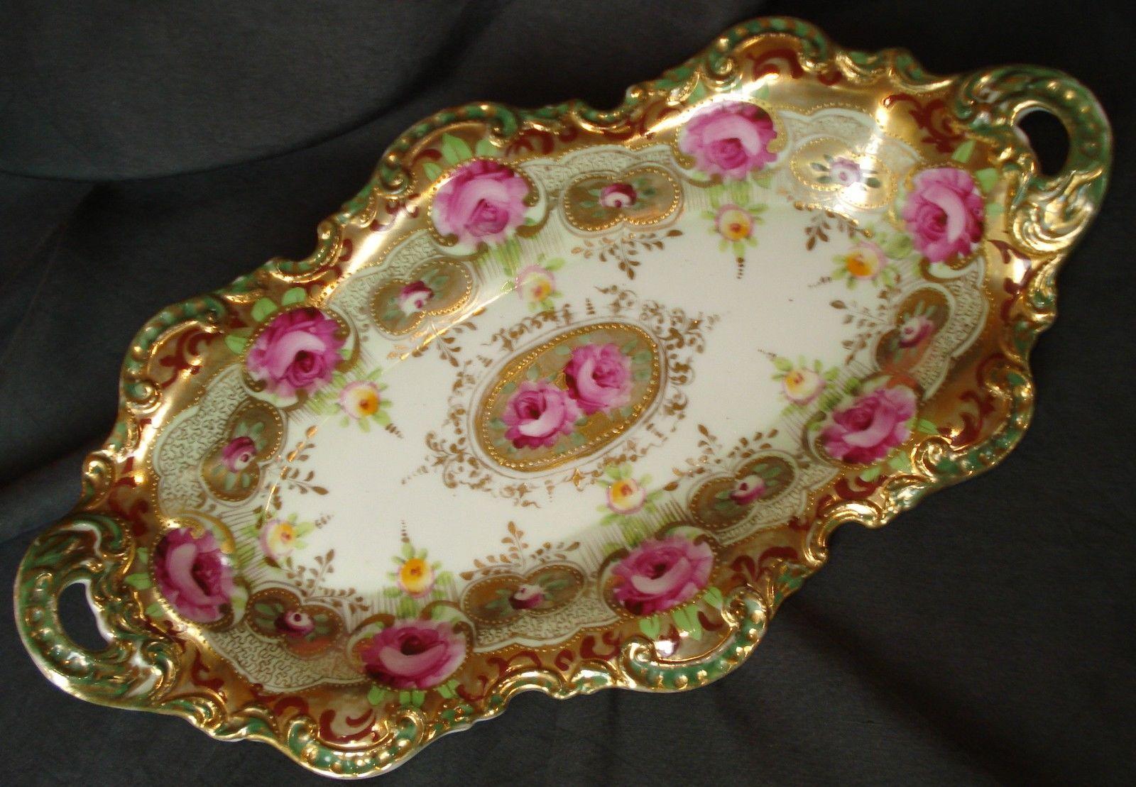 Um nippon celery dish handpainted pink roses gold beading tray