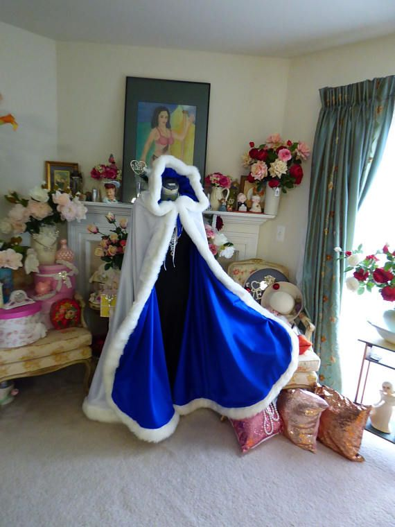 Beauty And The Beast Bridal Cape 52 Inch Royal Blue Ivory Satin Wedding Cloak Reversible Hooded With Fur Trim Handmade In Usa Wedding Cloak Bridal Cape Royal Blue Wedding