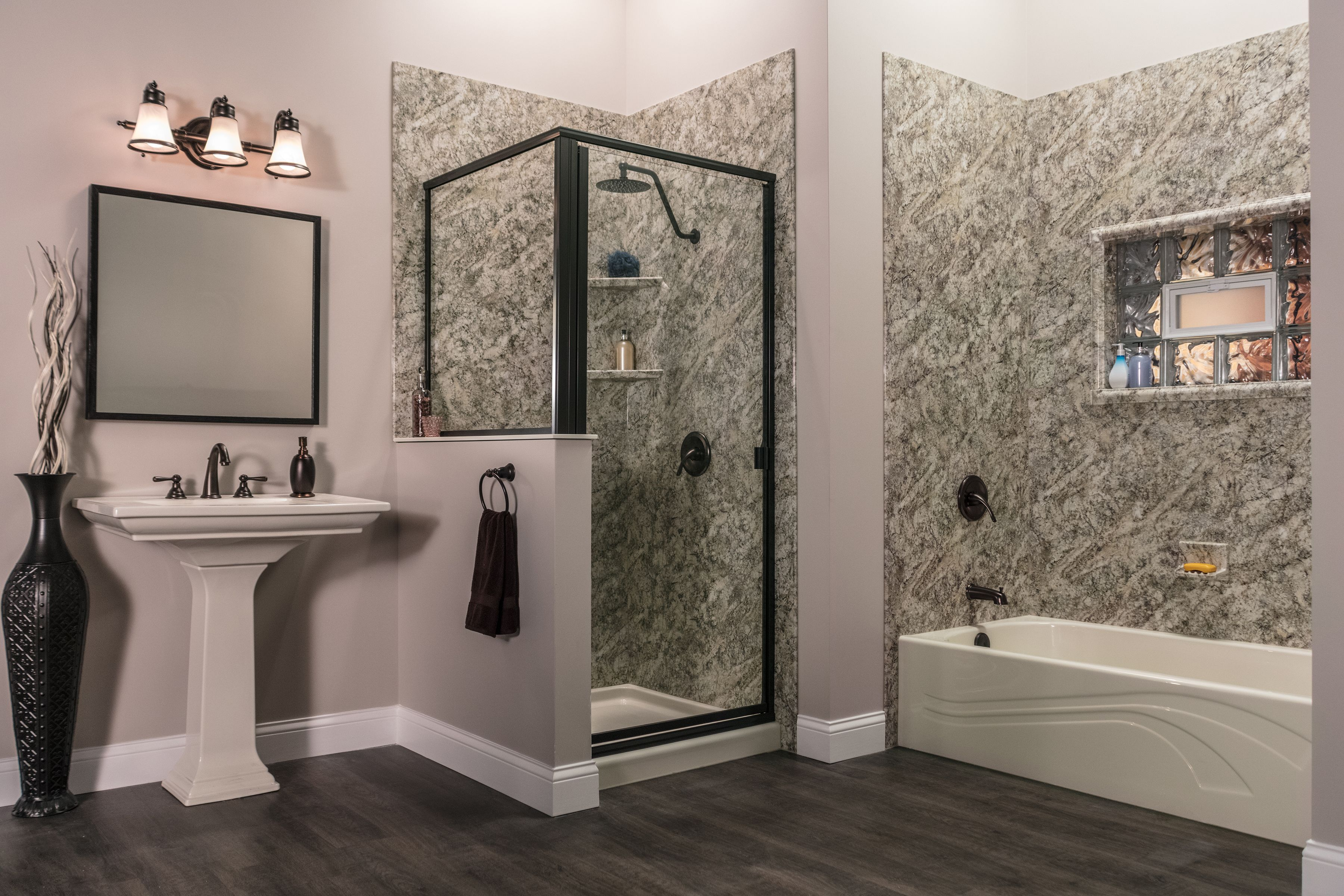 Premier Bathroom Design Platino Granite Wall Surrounds For Both A Shower And Bathtub