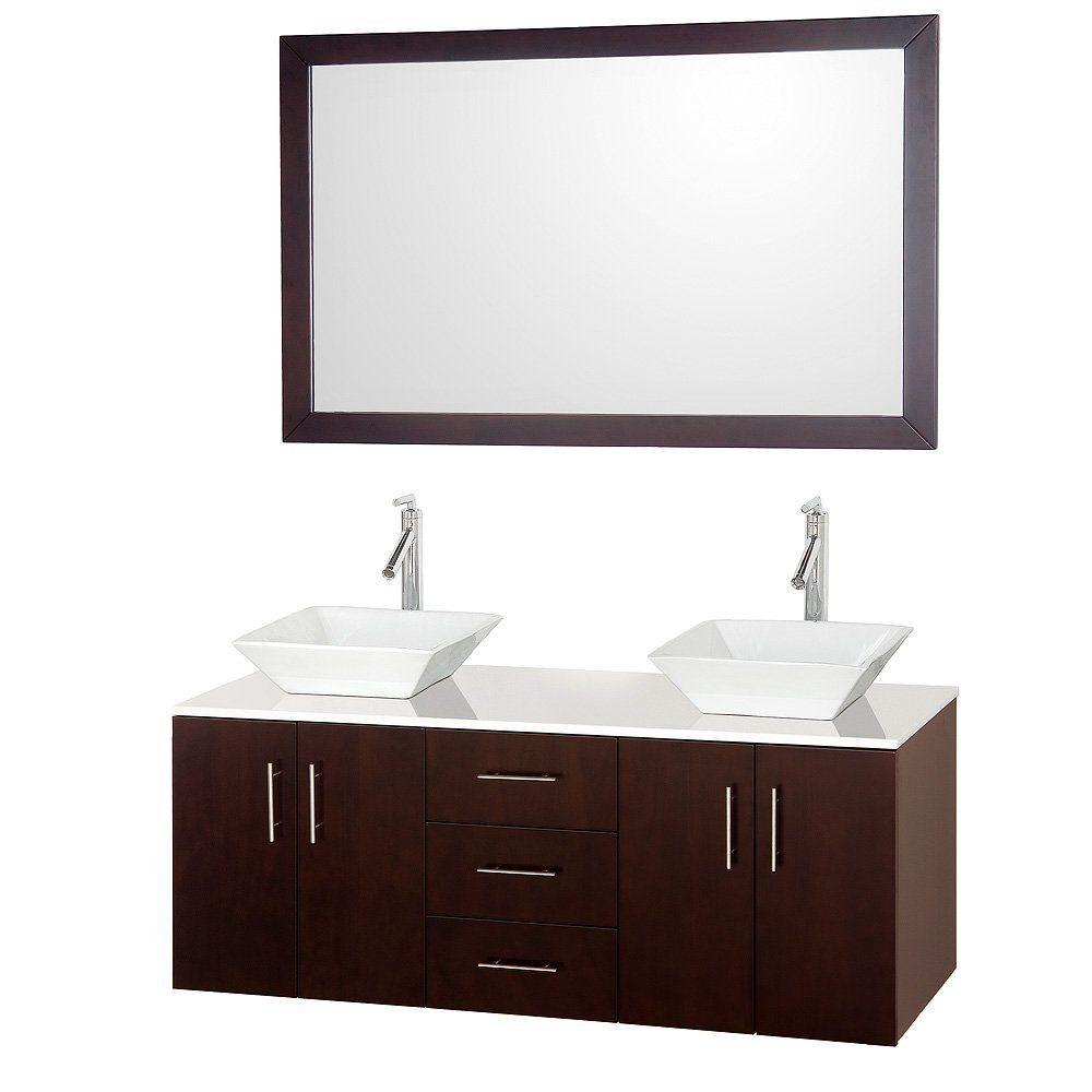 Wyndham Collection Arrano 55 Inch Double Bathroom Vanity In