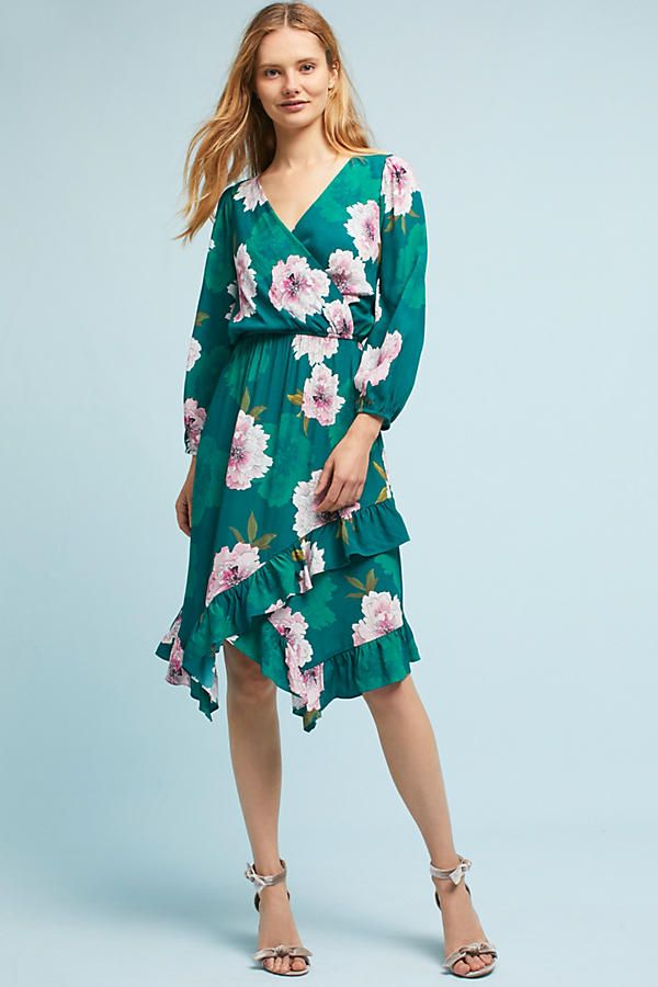 ac58eb16b066 Fall Outfits   Fall Dresses   Plenty by Tracy Reese Aleah Dress in Green  Floral Motif from Anthropologie   This is the perfect midi dress for a fall  wedding ...