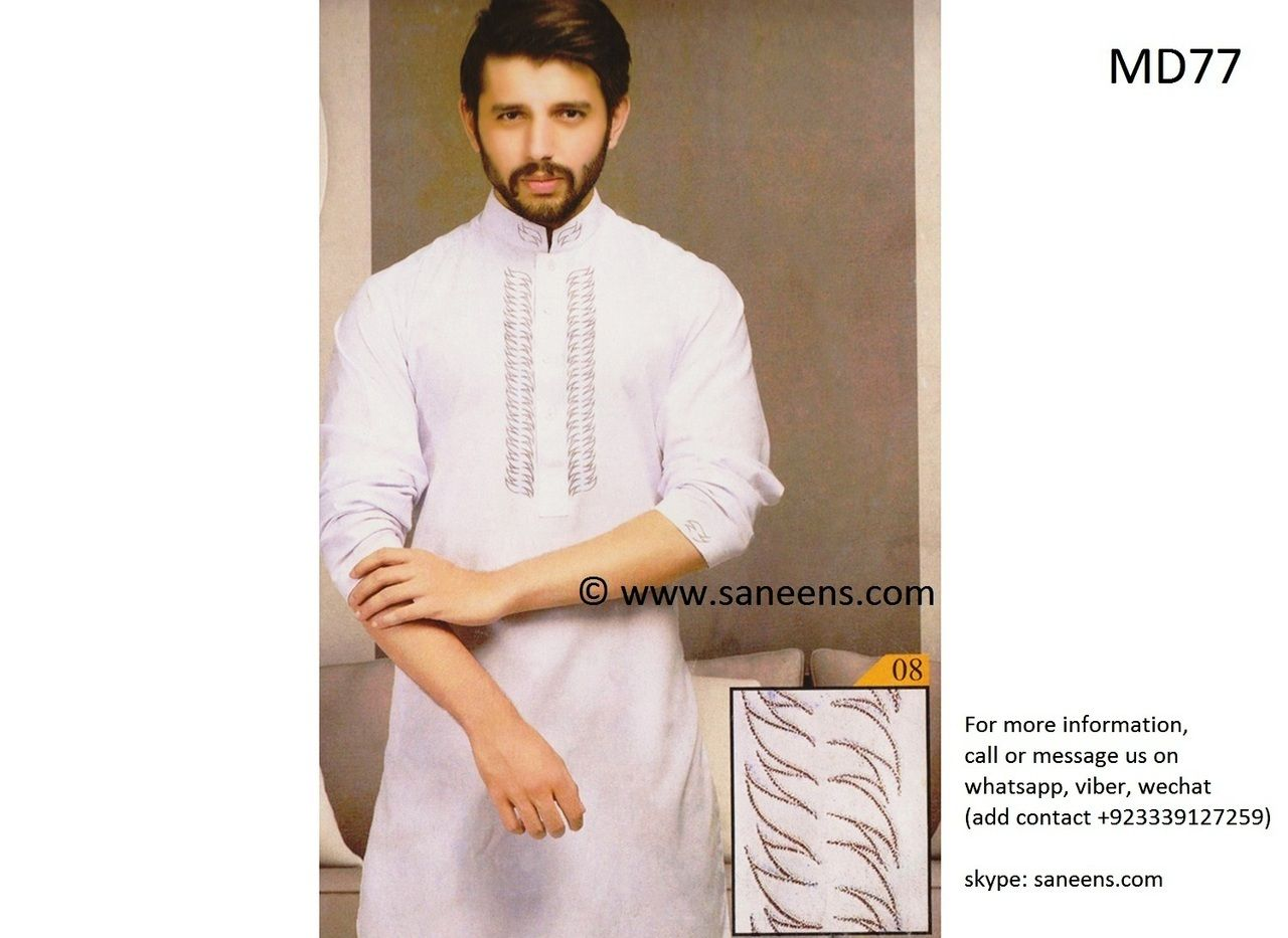 Pakistani clothes in white color muslimah fashion men suit belly