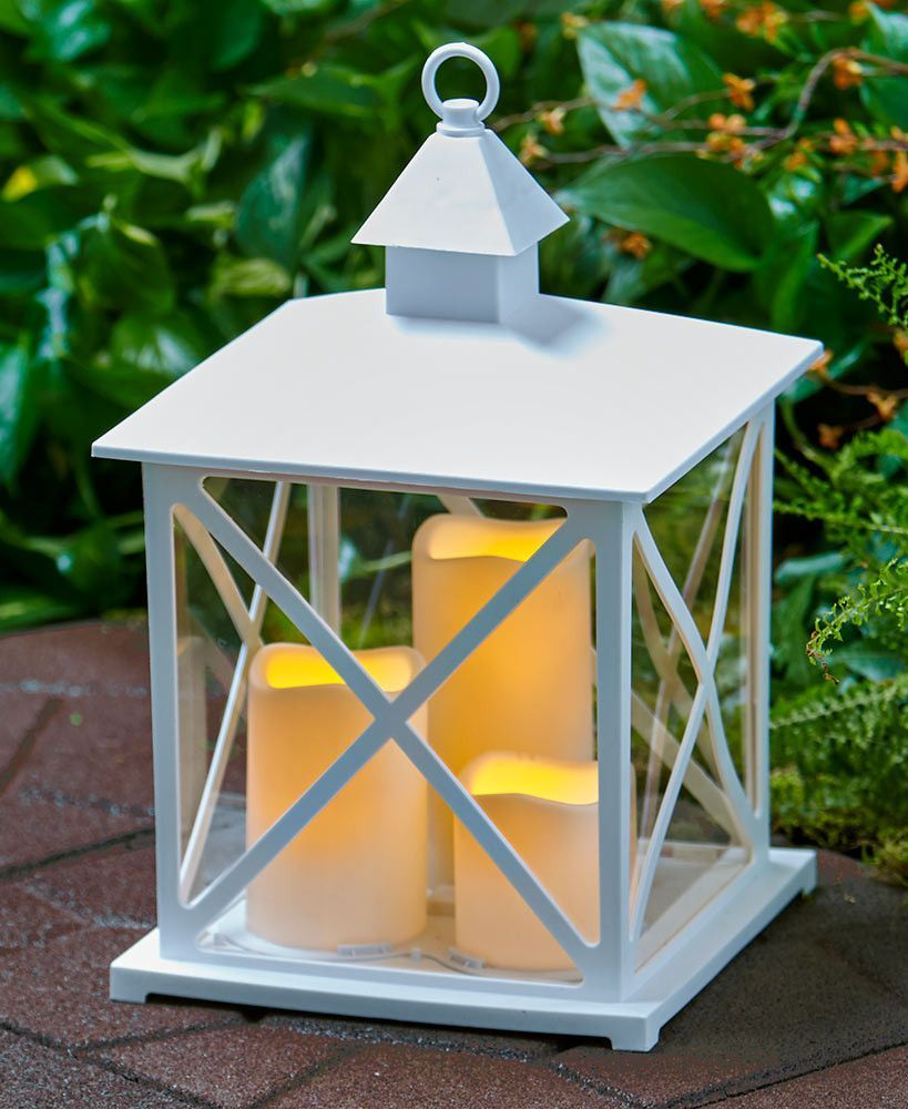 Flameless Outdoor Candle Lantern Lamp LED With Timer Realistic Deck Patio  Decor