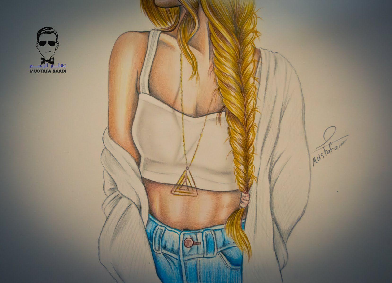تعلم رسم جسم فتاة مع تسريحة شعر مميزة ظفيرة Dress Design Drawing How To Draw Hair Drawing Illustrations