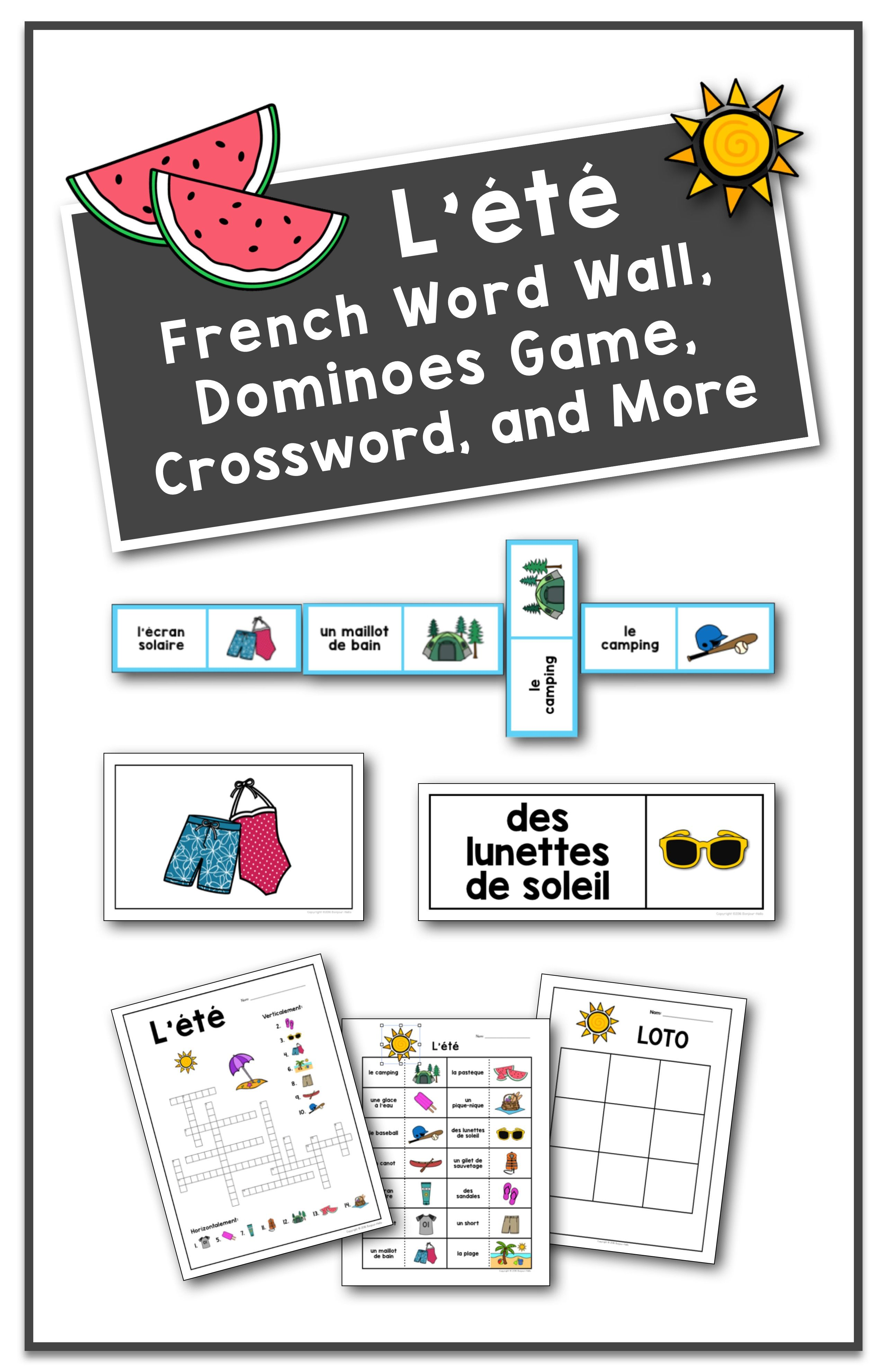 L Ete French Summer Word Wall Dominoes Game And Crossword
