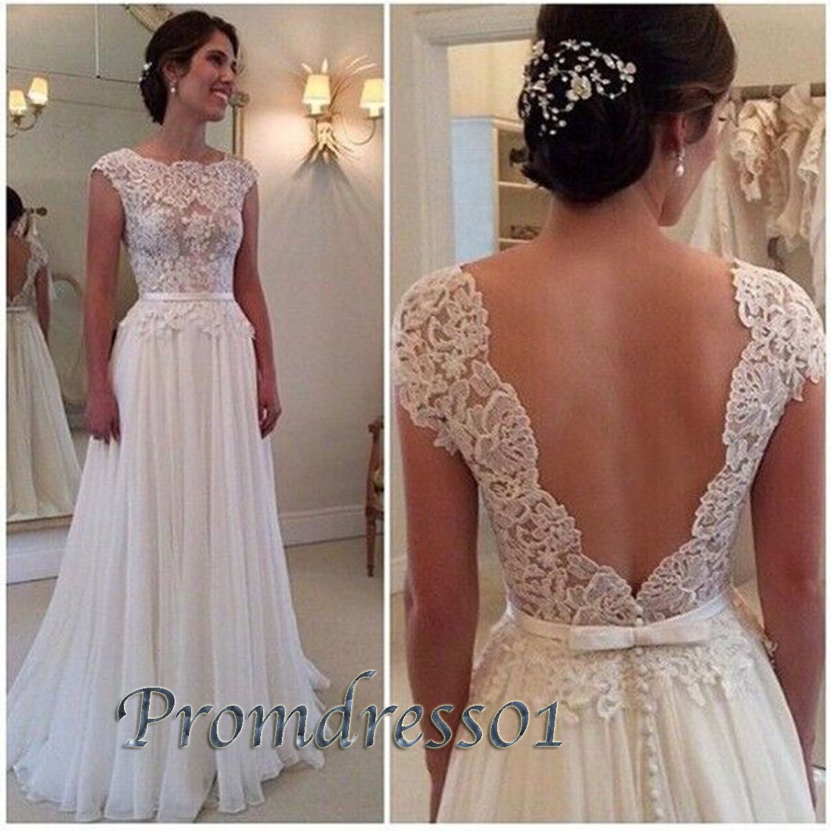 Elegant open back ivory lace top chiffon prom dress long ball gown