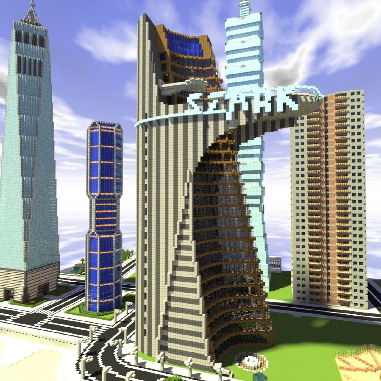 The New Stark Tower By Cooljvargas Interior By Mikeyto1o Minecraft Projects Minecraft Skyscraper Minecraft