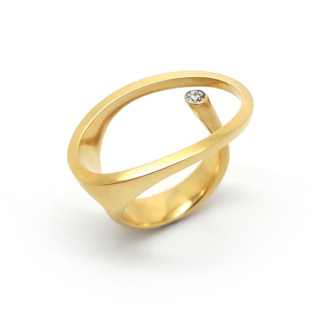 Amazing ORRO Contemporary Jewellery Glasgow Angela Hubel Yellow Gold Klein Stein Ring Modern Gold u Diamond Rings by Angela Hubel at ORRO Jewellery Glasgow