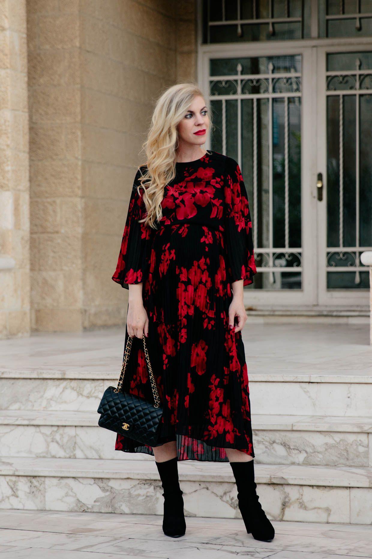 Dark Romance Floral Midi Dress With Sock Boots Floral Midi Dress Dresses Midi Dress