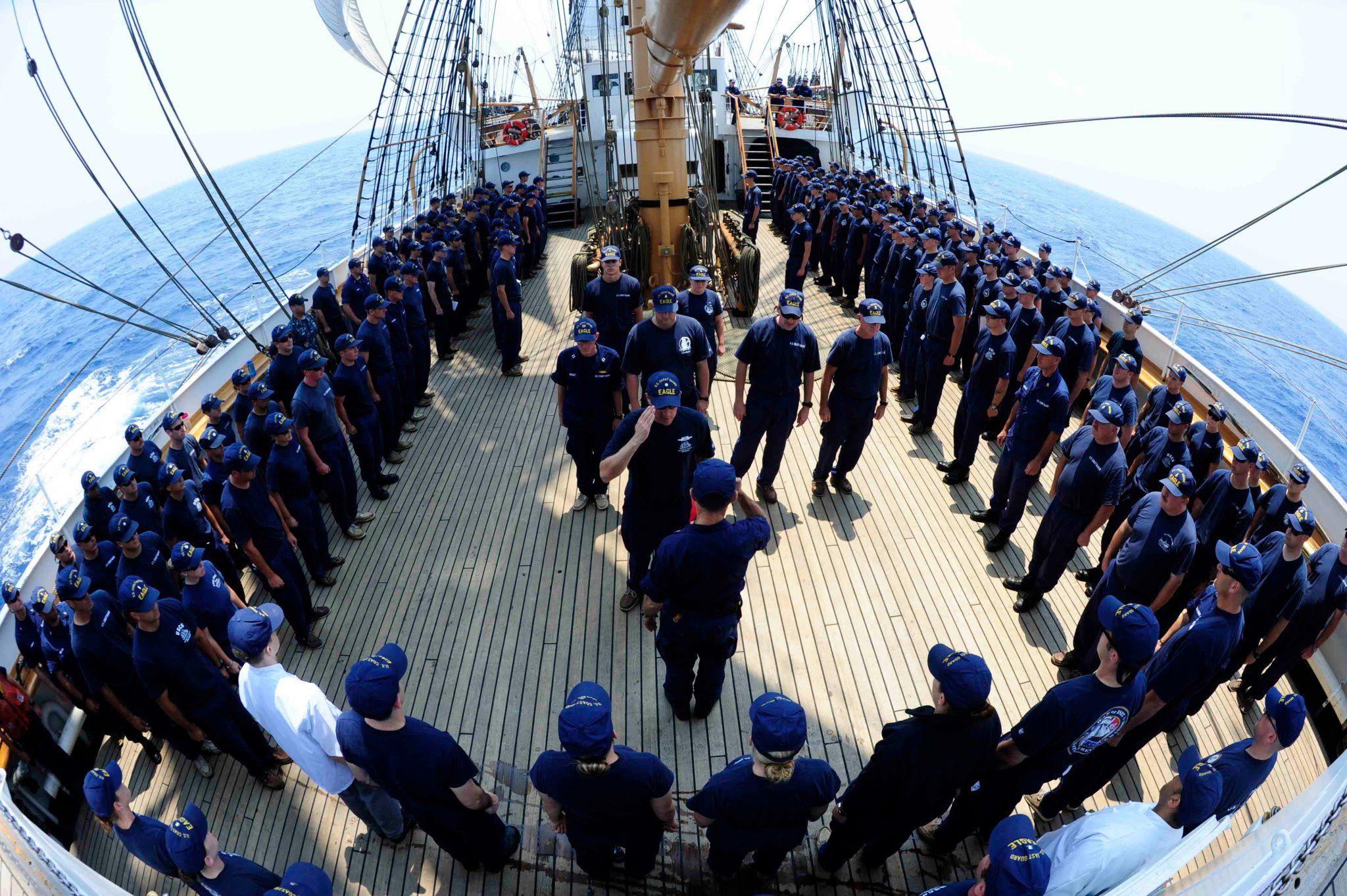 All hands muster coast guard cutter coast guard eagle