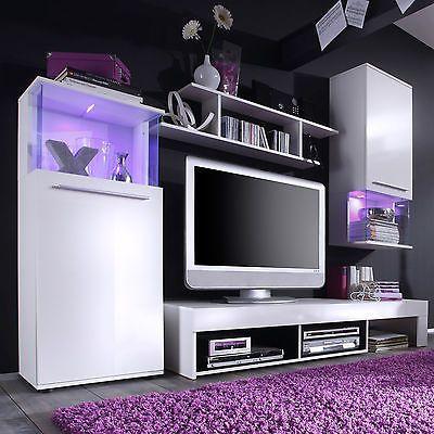 Wohnwand in weiß Front glänzend Anbauwand Punch mit Glaselementen - Wohnzimmermöbel Weiß Landhaus