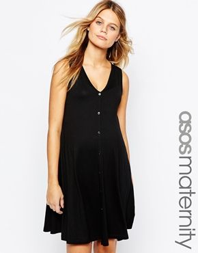 4bd7f56b82ef2 ASOS Maternity Sleeveless Swing Dress with Button Through   Stylin ...