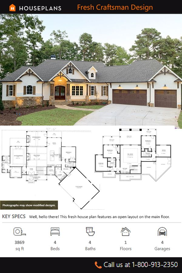 Craftsman Style House Plan 4 Beds 4 Baths 3869 Sq Ft Plan 437 104 Craftsman Style House Plans House Plans Farmhouse Basement House Plans
