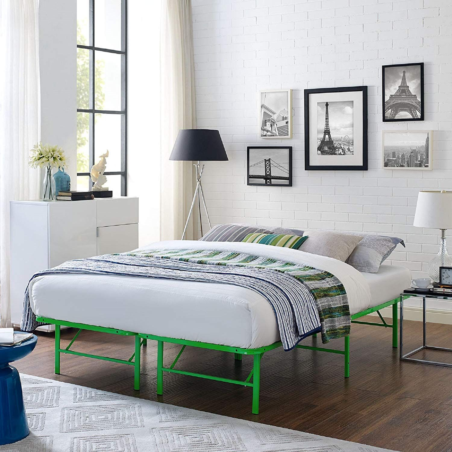 Amazon Com Modway Horizon Queen Bed Frame In White Replaces Box