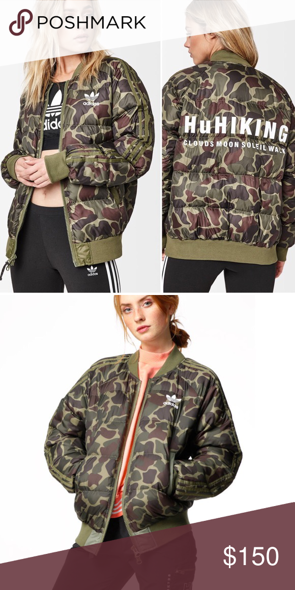 cad24122e8d Women's Adidas HU Hiking Camo Puffer Jacket Coat New with tags ...
