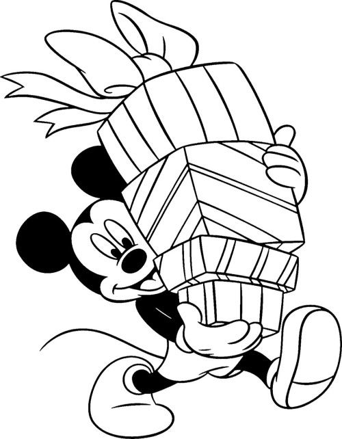 Disney Christmas Mickey Mouse Carrying The Box Coloring Page ...