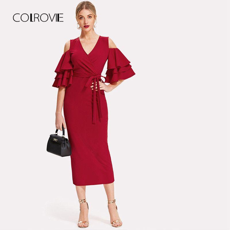 COLROVIE розовый V образным вырезом рюшами поясом с открытыми плечами  пикантные платья для вечеринок Элегантный 2018 осень вечерние для женщи cf105dcb1dd7