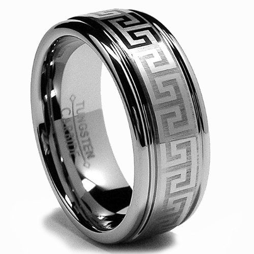 8MM Tungsten Ring Wedding Band With Laser Etched Greek Key Design Size 105