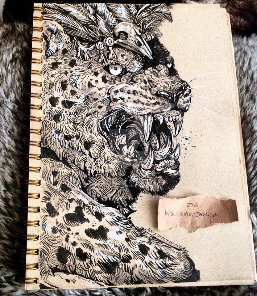 The Jaguar King By Wolfskulljack Animal Art Jaguar Tattoo Art