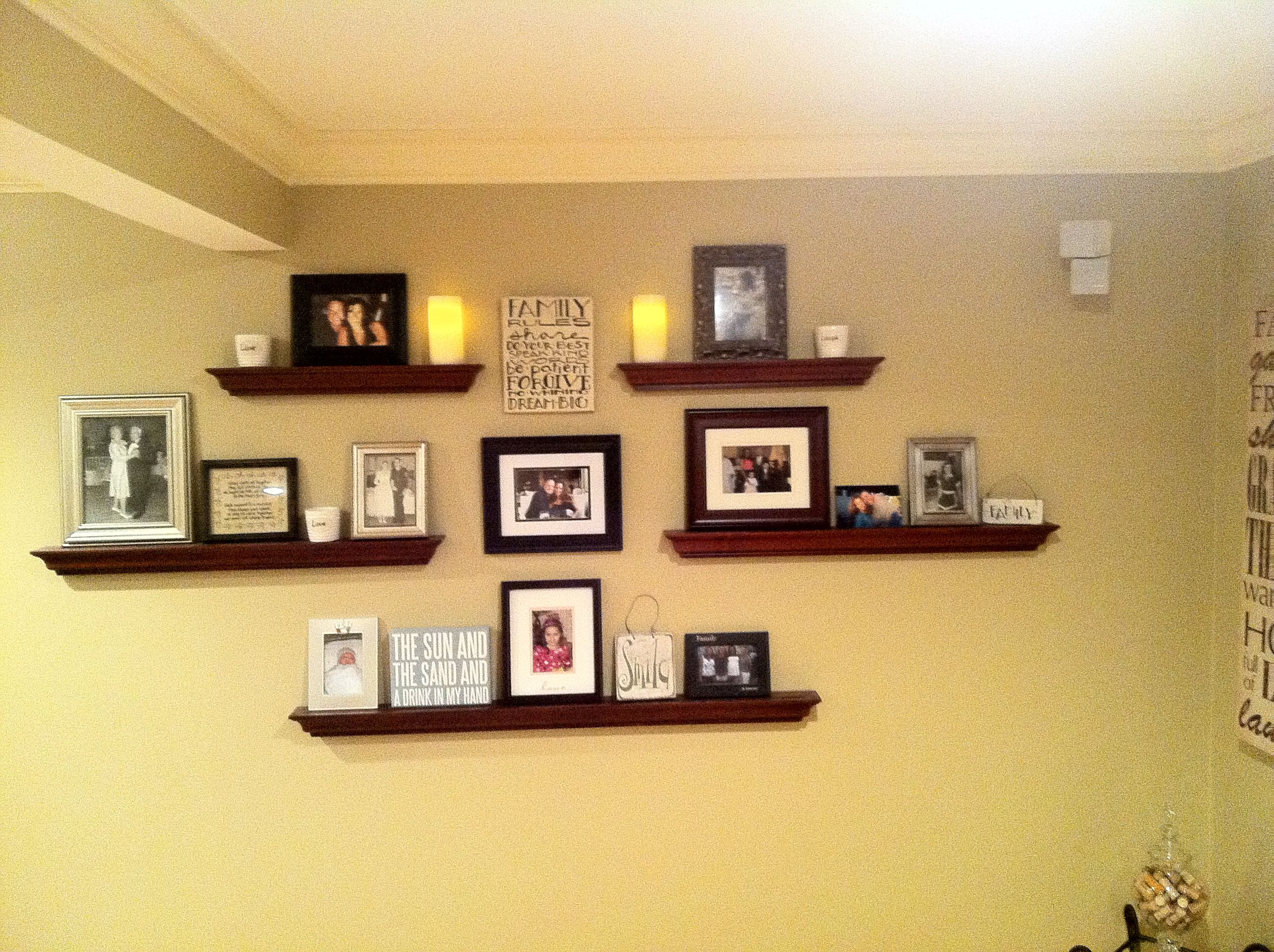Wall shelving and photo collage- good for large wall | wall art ...