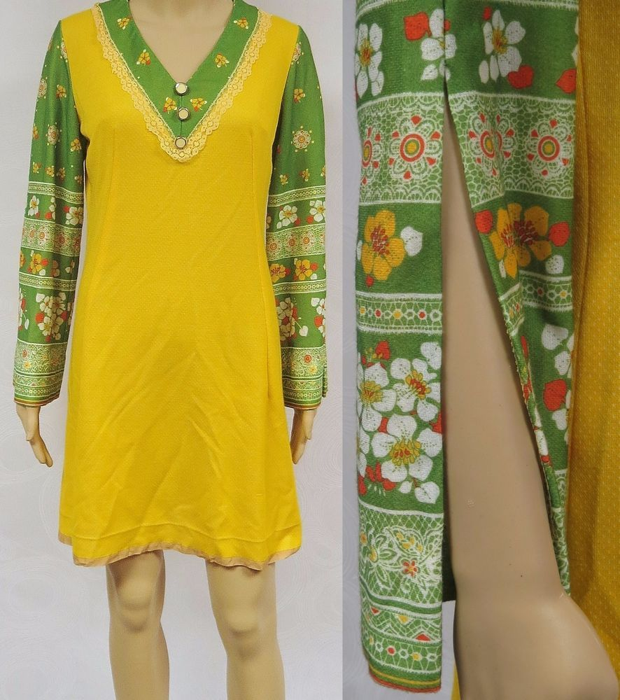 Vintage s mini dress slit floral sleeves yellow green mod disco