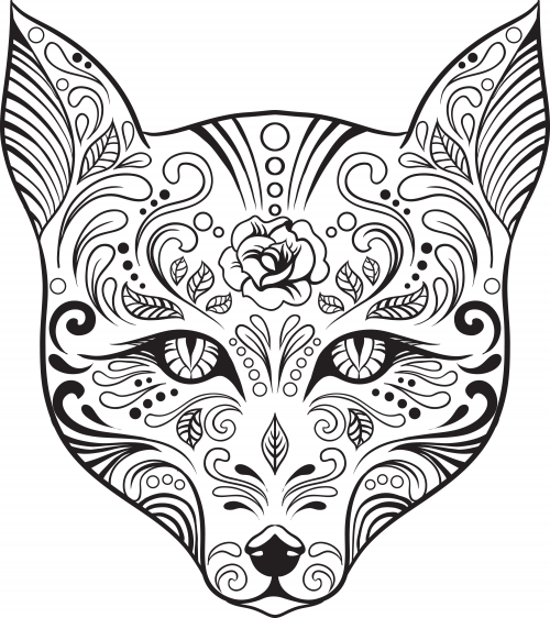 advanced coloring sugar skull 5 - Advanced Coloring Pages Animals