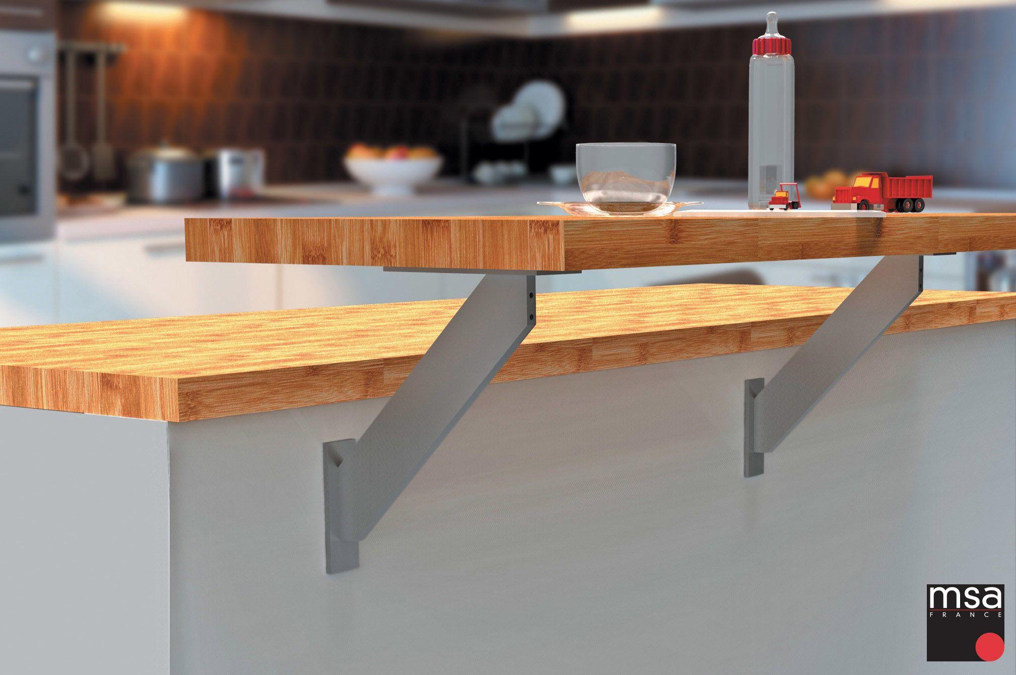 Console Snack Avec Deux Possibilites De Fixation La Premiere Sur Le Plan De Travail Et La Deuxieme Position Est S Cuisine Blanc Laque Cuisine Blanche Console