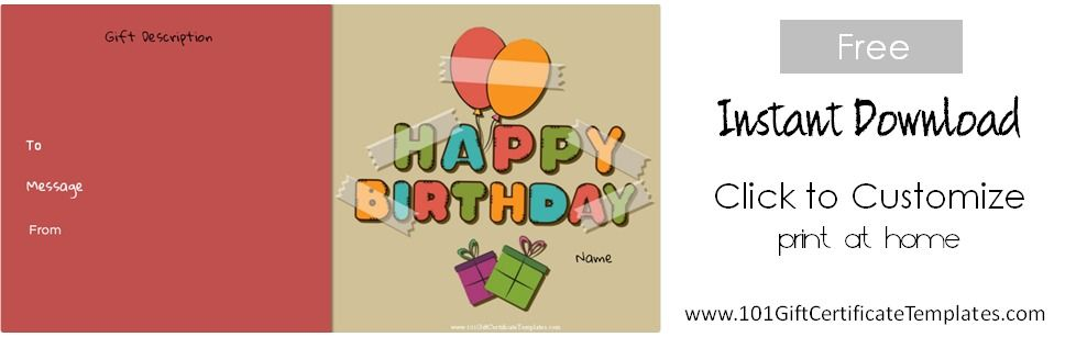 Birthday Gift Certificate Templates  Gift Certificate