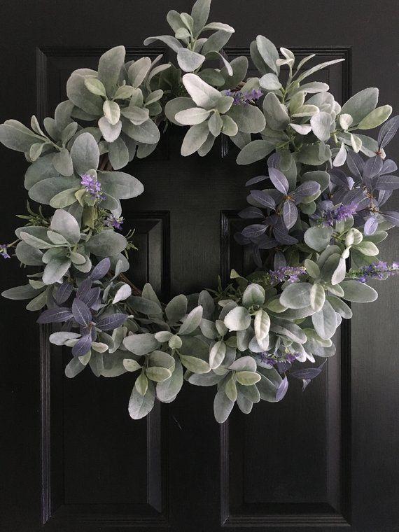Photo of Lamb's Ear Wreath / Spring Wreath / Summer Wreath / Fall Wreath / Winter Wreath / Farmhouse / Greenery Wreath / Wreath / Housewarming Gift