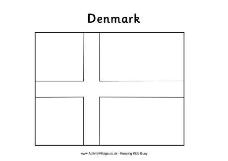 Denmark Flag Colouring Page Farger Flagg