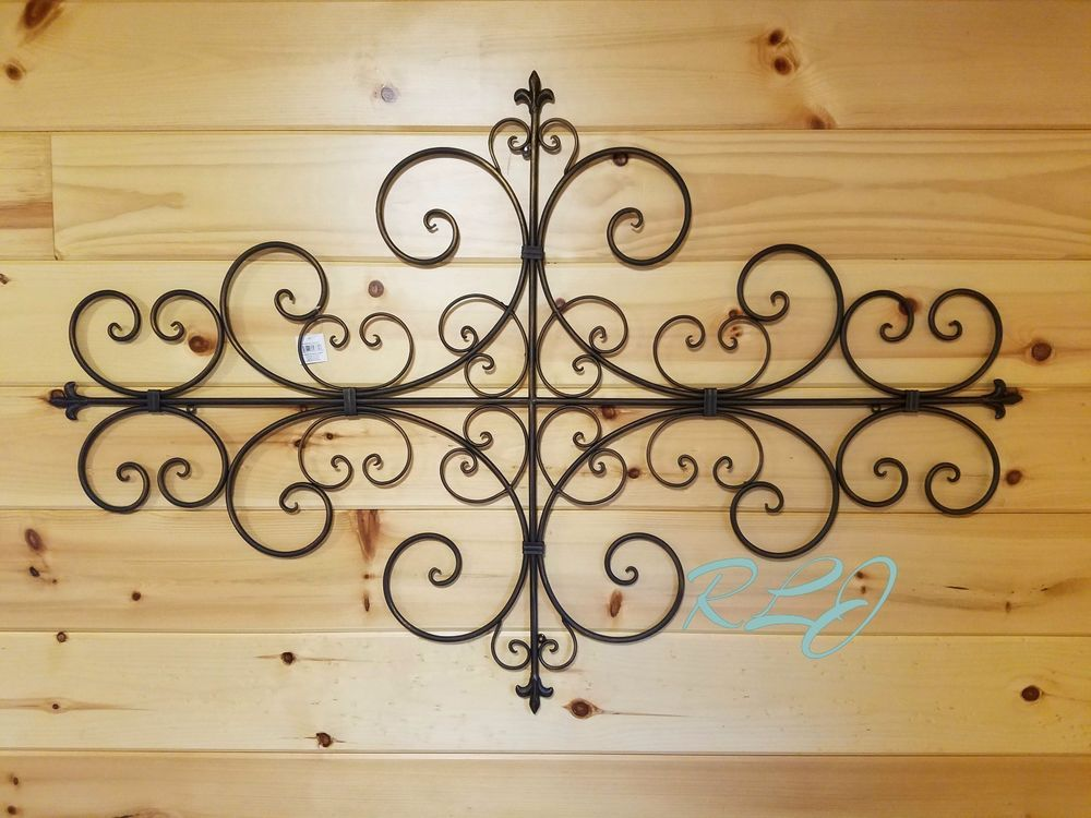 Large Decorative Vintage Tuscan Scrolling Metal Wall Grille Art Plaque Decor New Wrought Iron Wall Decor Metal Wall Sculpture Wall Sculpture Art