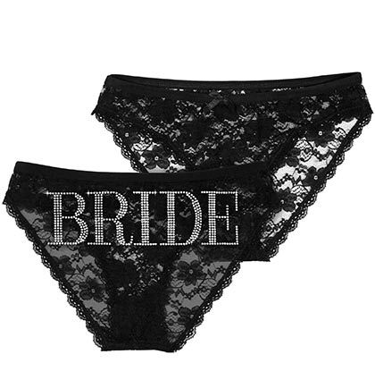 68b4847e6c8a This Bride Black Lace Bikini Panty is a great gift for the bride! Who  doesn't love black? A pair of these will definitely be in her bag on the  way to her ...