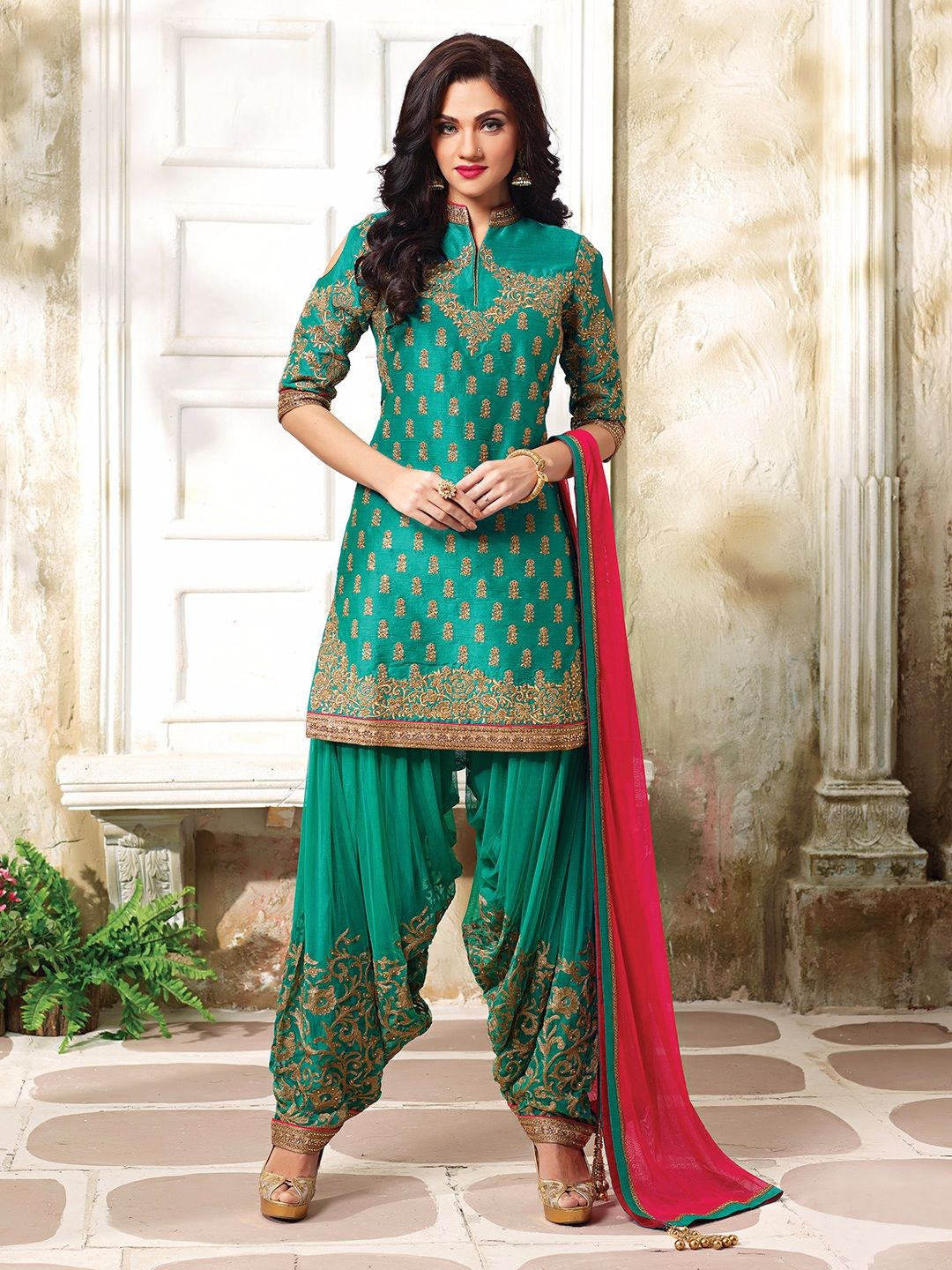 Shop Aqua silk designer punjabi suit online from G3fashion India ...