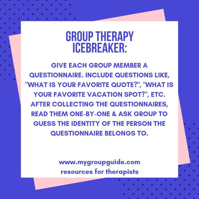 My Group Guide Learn More About Our Therapy Resources Group Therapy Therapy Icebreaker Activities
