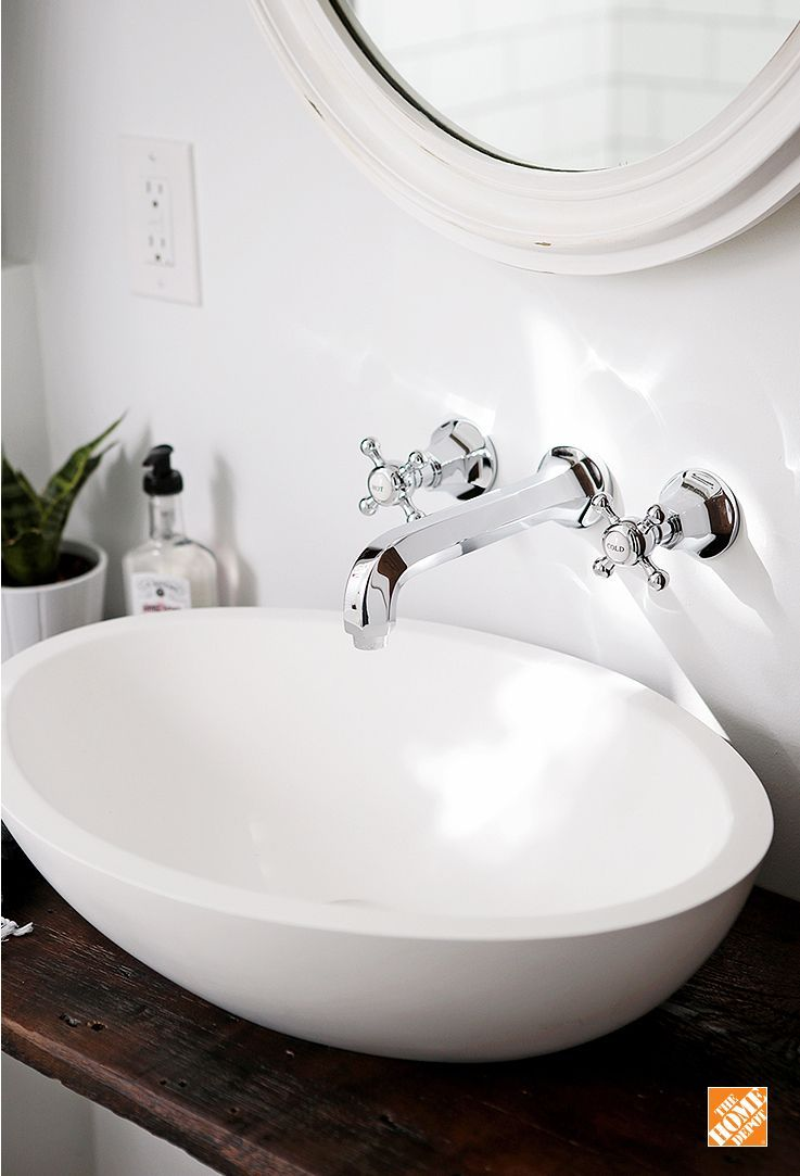 This modern ANZZI vessel sink pairs beautifully with a vintage-style ...