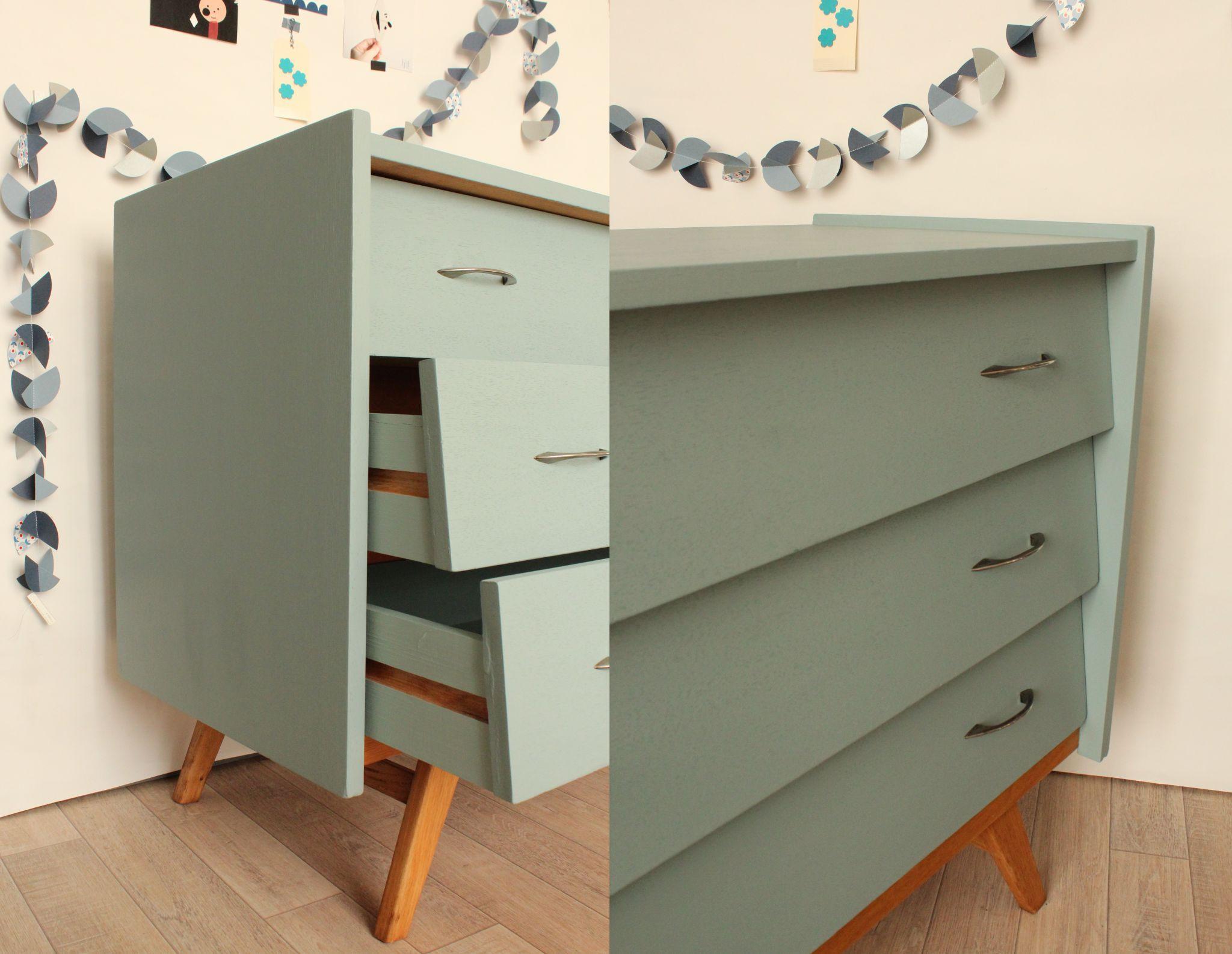 Commode vintage ann es 50 bleue pi tement naturel trendy little 6 id es r novation meubles - Idee renovation meuble ...