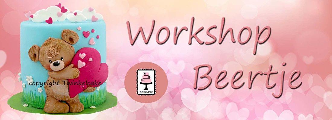 Workshop: BeertjeData:zat 21/01 , vrij 03/02 , zat 11/02 , di 14/02Prijs: 60€Geen ervaring nodigWat leren we in deze workshop- Afmeting workshop: diameter 15cm,15 hoog- Keuze: op echte cake (10-12personen), of op dummie- Het bekleden van de taart of dummie in lichtblauw, het schilderen van grassprietjes en aanbrengen van bloemetjes. We boetseren het beertje met het grote hart.