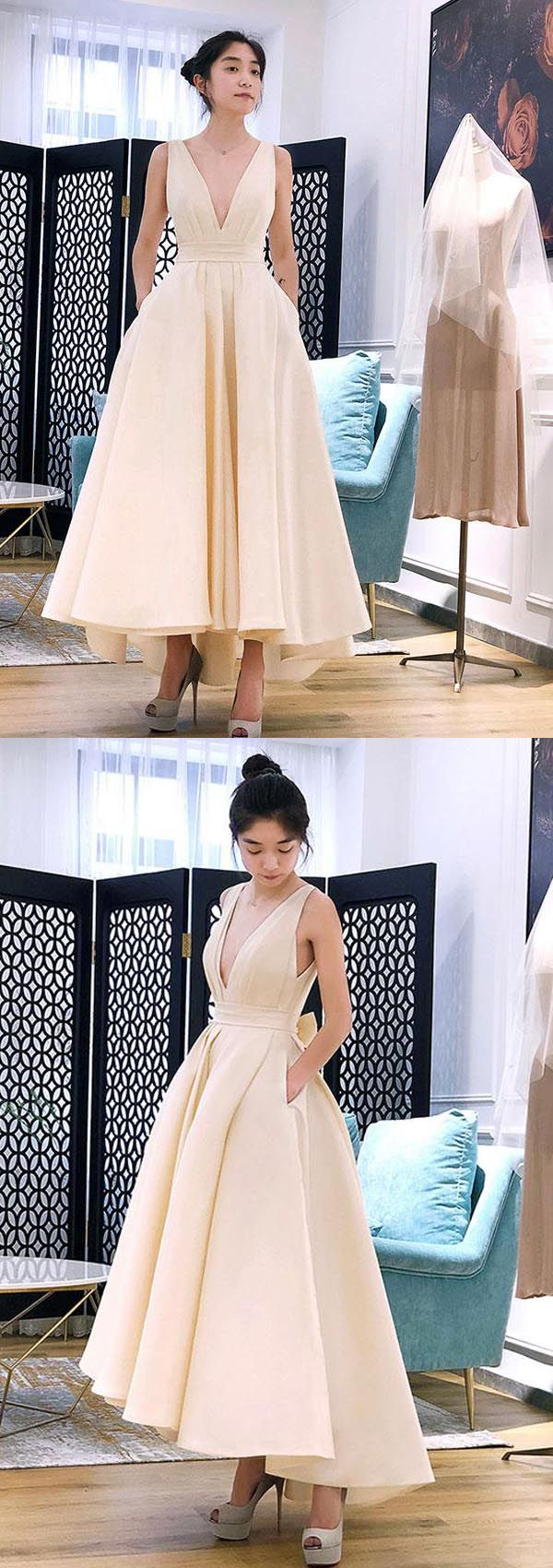 Aline high low v neck short prom dress homecoming dress pg