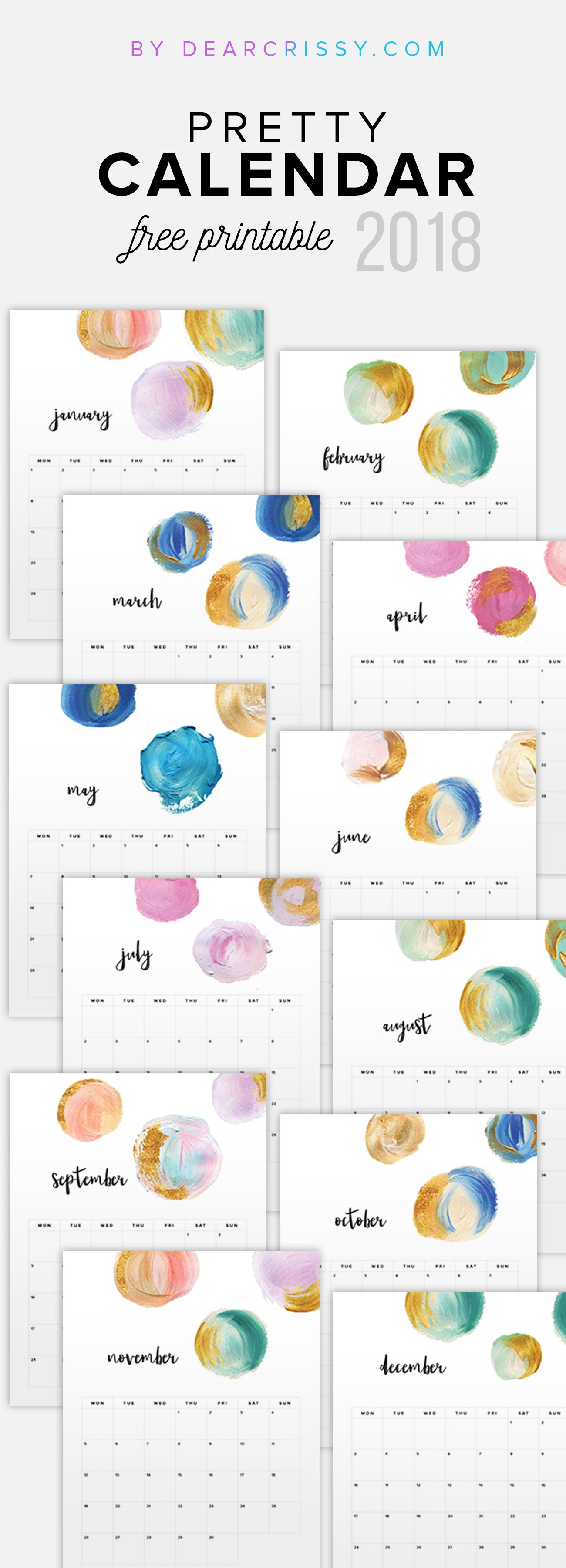 Wedding decorations gold and pink december 2018 Free  Printable Calendar  Pretty Painted Calendar Printable