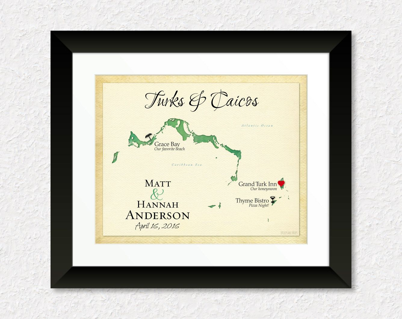 Wedding Gift For Destination Wedding: Map Of Turks And Caicos, Unique Anniversary Gift