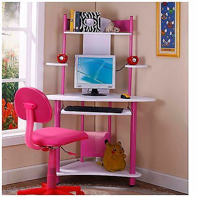Kids Corner Desk Pink Girls Bedroom Furniture Computer Writing Center Teen New