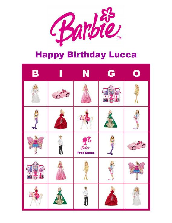 Barbie Doll Personalized Birthday Party Game Bingo Cards Delivered By Email