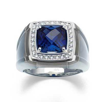 Men S 9 0mm Cushion Cut Lab Created Blue Sapphire And 1 4