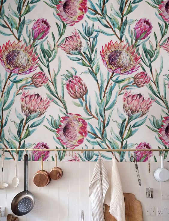 Aquarel Exotische Bloemen Behang Verwijderbaar Behang Etsy Floral Wallpaper Flower Wall Decor Self Adhesive Wallpaper