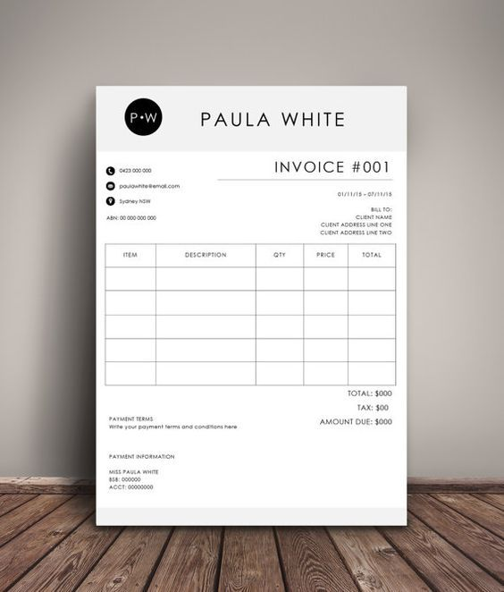 Invoice Template Receipt Ms Word And Photoshop Template